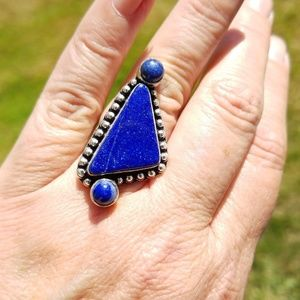 New Lapis Lazuli 925 Sterling Silver Ring Sz 7